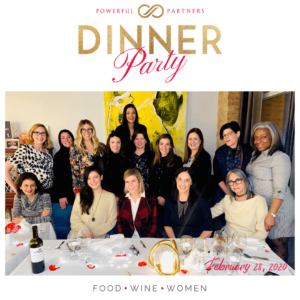 photo of group of women at Powerful Partners Dinner Party February 2020